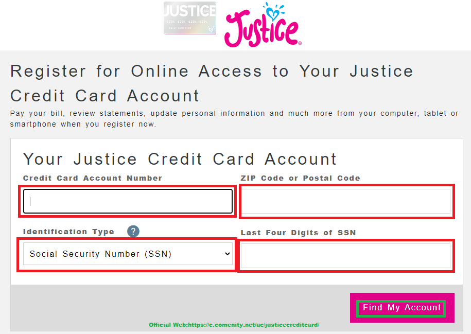 Know about Justice credit card login - Money Subsidiary