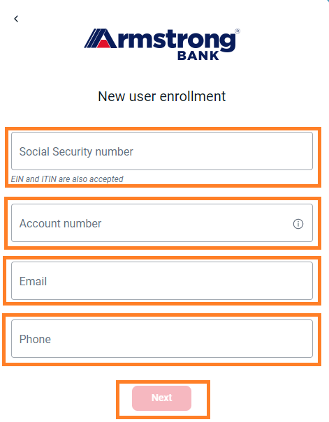 Enroll Armstrong Bank online 2